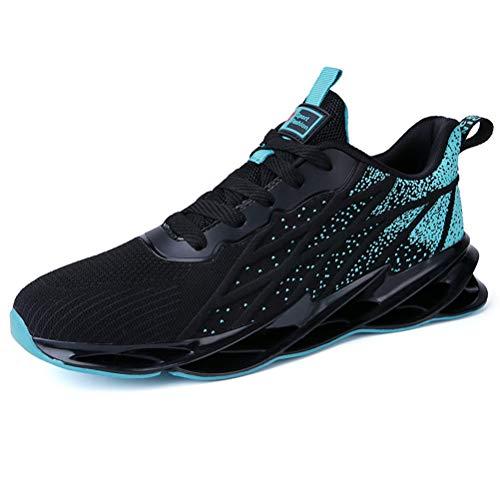Dannto Damen Herren Laufschuhe Air Atmungsaktiv Fitness straßenlaufschuhe Turnschuhe Sneaker Sportschuhe atmungsaktiv Gym rutschfeste Mode Freizeitschuhe Für den Frühling Sommer (Schwarz-Grün,42)