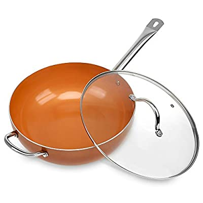 SHINEURI 12-inch Nonstick Woks and Stir Fry Pans with Lid, Nonstick Copper Wok Pan With Stainless Steel Handle & Glass Lid, Dishwasher Safe, PFOA/PTFE Free