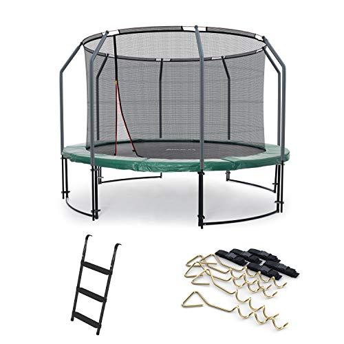 Ampel 24 Deluxe Outdoor Trampolin 305 cm mit Netz innen, Leiter & Windsicherung, Belastbarkeit 150...