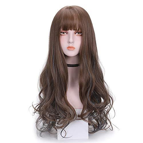 peluca,Peluca de pelo largo para mujer, peluca de seda intermitente, cubierta de pelo con hebilla interior