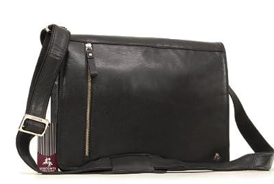 VISCONTI - Cuir Véritable - Sac Bandoulière pour iPad A4 / Sac porté épaule/Sac de Travail/Besace - Cuir de Buffalo - ML23 Carter - Noir