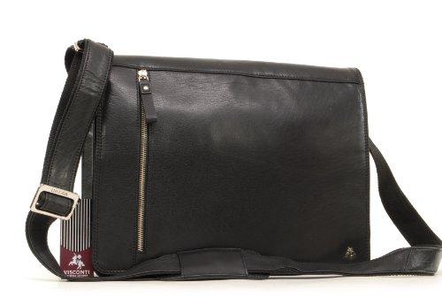 VISCONTI ML23 - Bolsa Tipo Mensajero (tamaño A4, Piel de búfalo, Compatible con iPad o Kindle) - Negro