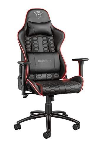 Trust Gaming GXT 717 Rayza Gaming-Stuhl mit RGB LED-Beleuchtung, schwarz, 126x74x66 cm