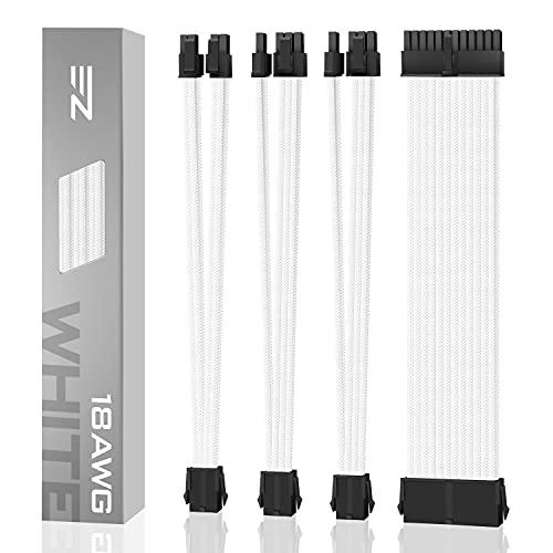 EZDIY-FAB 電源専用 PSUケーブル 延長スリーブモジュラーケーブル 、されたソフトナイロン24PIN / 8PINから6 + 2Pin / 8PINから4 + 4PIN-30CM 300MM+櫛 - 白