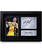 HWC Trading Kobe Bryant A4 Enmarcado Regalo De Visualización De Fotos De Impresión De Imagen Impresa Autógrafo Firmado por Los Angeles Lakers Los Aficionados Al Cine