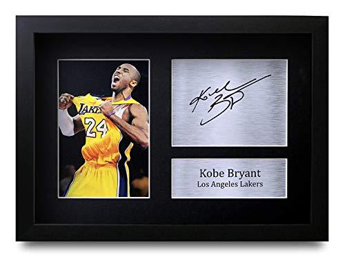 HWC Trading Kobe Bryant A4 Gerahmte Signiert Gedruckt Autogramme Bild Druck-Fotoanzeige Geschenk Für Los Angeles Lakers Filmfans