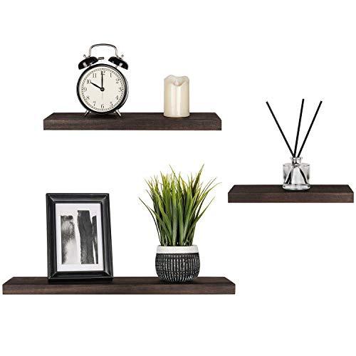 Mkouo Floating Shelves Wood Wall Shelf Set of 3 Modern Rustic Photo Plant Dispaly Shelf for Living Room, Bedroom, Bathroom, Kitchen, Office