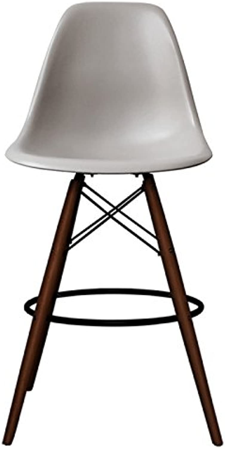 silver Import PC-016WH-LGW Eames Style Eiffel Stool in Light Grey with Walnut Base