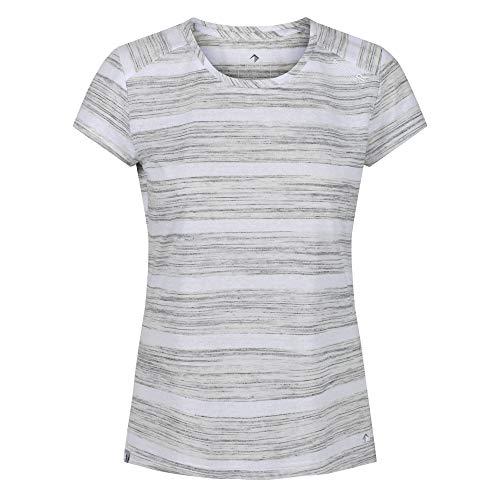Regatta T-Shirt Technique rayé Manches Courtes Limonite IV léger et Respirant, Blanc (Blanc et Gris), FR: 46 (Taille fabricant: XXL)