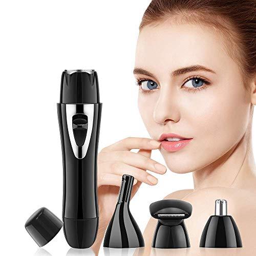 4-in-1 gezichtshaarverwijderaar, voor pijnloze elektrische ontharing, met neushaar, wenkbrauwscheerapparaat en gezichtshaarverwijderaar, voor dames en heren, USB-oplader (zwart)