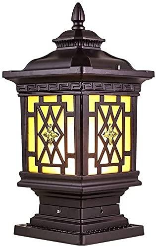 IP44 Lámpara de columna de jardín al aire libre a prueba de agua Cuadrada Aluminio Iluminación de paisaje vintage Lámpara de mesa de valla de cubierta E27 Patio exterior Patio Lámpara de pilar de post