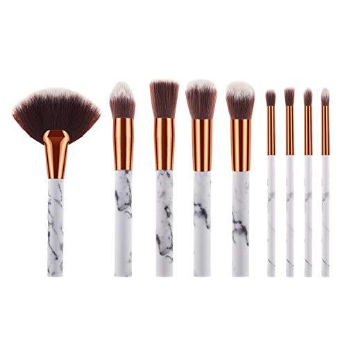 Minkissy 9Pcs Pinceaux de Maquillage Set Outil de Maquillage de Pinceaux Cosmétiques avec Poignée en Plastique Cadeau pour Les Femmes