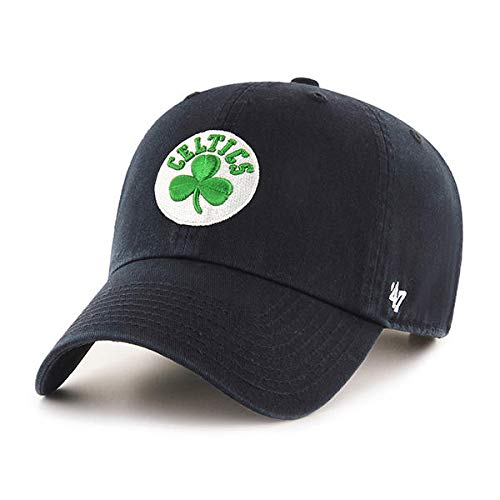 '47 Brand Boston Celtics Clean Up Adjustable Hat - NBA Basketball Cap - Black/Green/White, Unisex, Adult