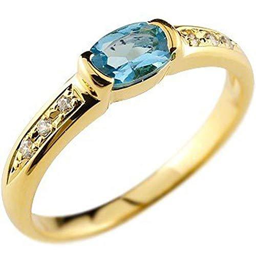 [アトラス]Atrus リング レディース 18金 イエローゴールドk18 ブルートパーズ ダイヤモンド 指輪 11月誕生石 ストレート 宝石 ピンキーリング 2号