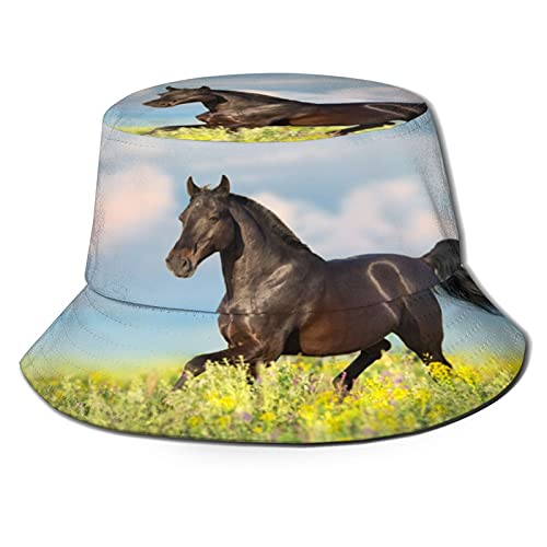 The Horse was Running On The Grass Unisex Casual Bucket Sun Hat Fisherman Cap for Fishing Hiking Camping