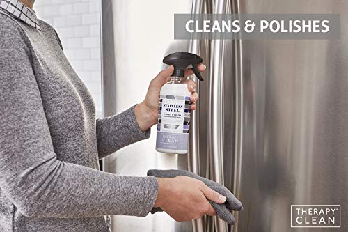 Therapy Stainless Steel Cleaner & Polish - 16 ounces (Microfiber Cloth) - Non-Toxic, Removes Fingerprints, Water Marks and Stains from Appliances - Works on Refrigerators, Dishwashers, Ovens, and Grills