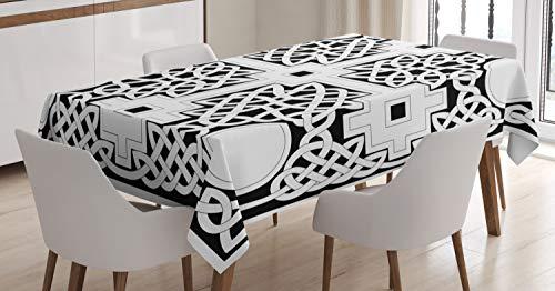 ABAKUHAUS céltico Mantele, Eterna Nudo Celta, Fácil de Limpiar Colores Firmes y Durables Lavable Personalizado, 140 x 200 cm, En Blanco y Negro