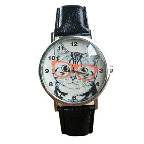 WensLTD Unisex Scholar Cat Pattern Leather Band Analog Quartz Dial Wrist Watch (A)