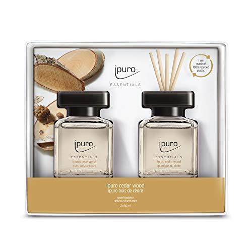 ipuro Essentials Raumduft cedar wood 100 ml – hochwertiger Lufterfrischer - Raumduft-Set für ein warmes und würziges Raumklima – umweltfreundliches Design