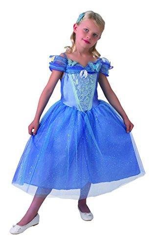 Princesas Disney - Disfraz de Cenicienta azul para niña, infantil talla 7-8 años (Rubie's 610777-L)