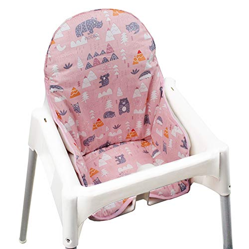 Fundas de asiento de algodón para silla alta por ZARPMA, superficie de algodón y acolchado de algodón, patrón bosque, plegable para silla de bebé, cojín de silla infantil IKEA (bosque rosa)