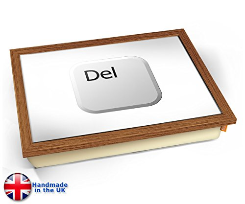Key Delete White Cushion Lap Tray Kissen Tablett Knietablett Kissentablett - Holz Effekt Rahmen