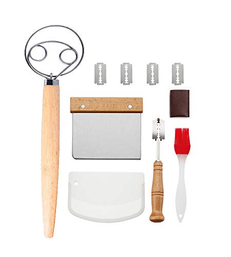 Erasky Juego de Cuchilla de Pan y Batidor de Masa Danesa Cuchilla de Pan con 5 Cuchillas Reemplazables, Rasqueta Panadero, Cepillo de Pastelería de Silicona para Pan Casero Artesanal