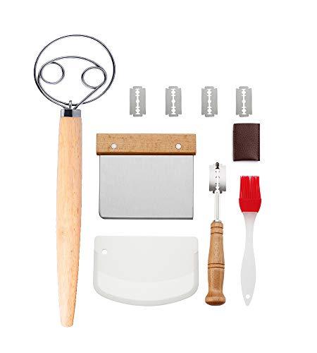 Erasky Juego de Cuchilla de Pan y Batidor de Masa Danesa-Cuchilla de Pan con 5 Cuchillas Reemplazables, Rasqueta Panadero, Cepillo de Pastelería de Silicona para Pan Casero Artesanal