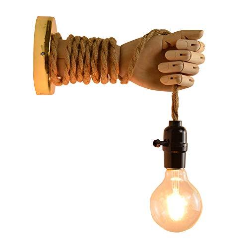 VOMI DIY Apliques De Pared Rusticos Madera Interior Vintage Cuerda de Cáñamo con Interruptor, Mano Creativa Rústica Industrial Ajustable Luz de Pared, Retro Lámpara de Pared E27 Linterna de Pared