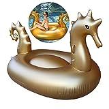 AIZYR Estilo Caballito De Mar Balsa Flotante De Piscina Hamaca De Agua con Asas Incorporadas, Tumbona Hinchable De Piscina para La Fiesta De Natación