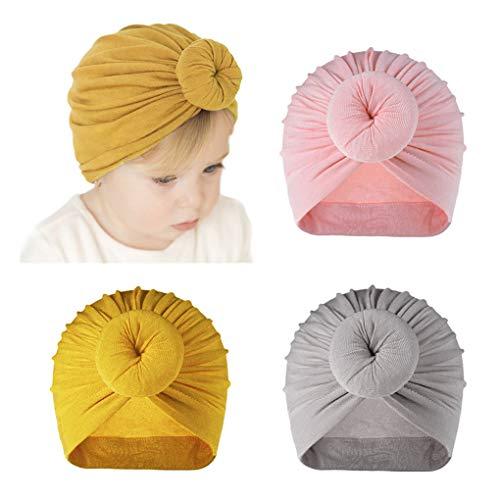 Dsaren 3 Piezas Sombrero Turbante Bebe Suave Gorra Beanie Turbante Nudo Gorra Diadema para Recién Nacidos Infántil Niñas (Rosa, Amarillo, Gris)