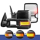 MOSTPLUS Power Heated Towing Mirrors Compatible for Chevy Silverado Suburban Tahoe GMC Serria Yukon 1999-2002 w/Sequential Turn light, Parking Lamp, Running Light (Set of 2) (Black)
