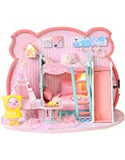 Decdeal DIY Doll House Toy Wooden Miniatura Kit Dollhouse Toys with Furniture Kit LED Christmas Birthday Gift
