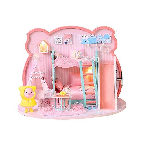 Andoer Brinquedo para casa de boneca DIY Miniatura de madeira Kit brinquedos para casa de boneca com kit LED presente de aniversário