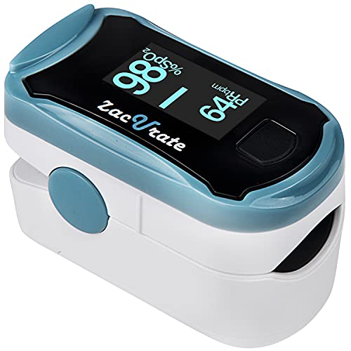 Zacurate 500G Fingertip Pulse Oximeter Blood Oxygen Saturation Monitor with Silicon Cover, Batteries and Lanyard (Arctic Blue)