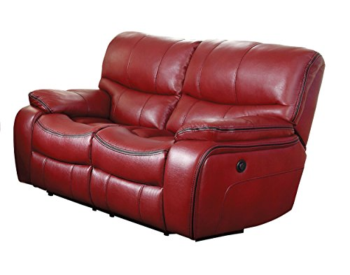 Homelegance Pecos Leather Gel Power Double Reclining Love Seat, Red