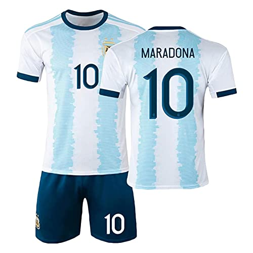 DSechcrsL Uniformes De Fútbol, Camisetas De Fútbol De Argentina Maradona No. 10, Retro Conmemorativo 1986, Camiseta De Fútbol Conmemorativa, Conjunto De Camiseta,Azul,24