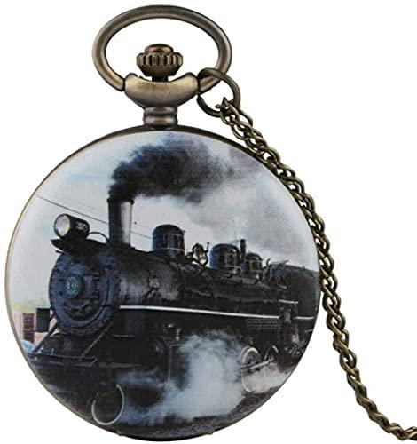 Reloj de Bolsillo Coleccionables Tren Coche Colgante Reloj de Bolsillo Collar de Cadena Reloj de Cuarzo Retro con Tapa para Hombre Reloj de Hora