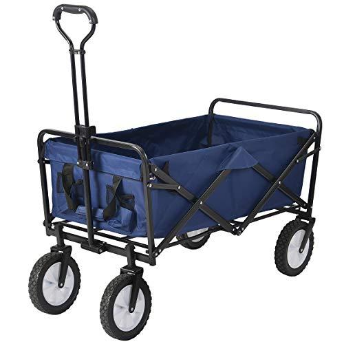 キャリーワゴン キャリーカート 折りたたみ式 カート 軽量 台車 荷台 耐荷重80kg レジャー スポーツ アウトドア-OSJ (ダークブルー)