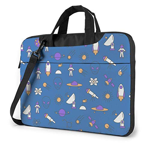 Hdadwy Adults Student Laptop Bag with 2 Pocket Protective Notebook Computer Protective Cover Anti-Collision Anti-Scratch Handbag for School College Space Rocket Planets Spaceship Alien Astronaut 14inc