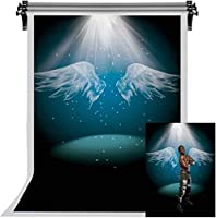 HDエンジェルウィング背景舞台照明背景白いスパイラル写真背景綿写真ビデオスタジオ小道具7X5ftFSLX215