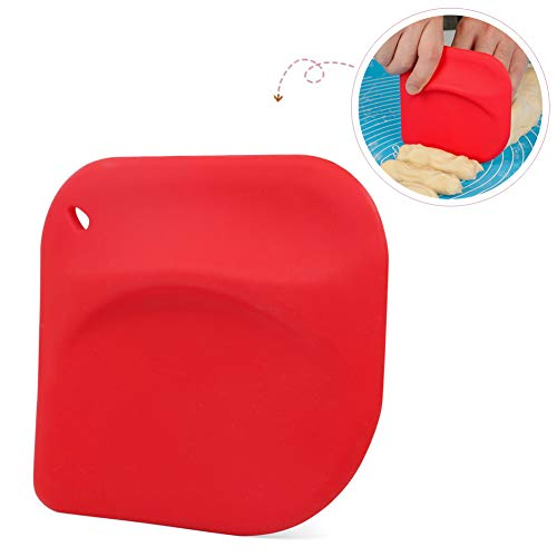 Flexible Silicone Pastry Dough Bench Scraper/Bowl Scraper Spatula Multipurpose Kitchen Gadgets for Bread Dough Cake Fondant Icing (Red)
