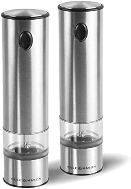 Cole Mason E960011U Battersea Electric Salt And Pepper Grinder Set With LED Light Electronic Battery Operated Mill Stainless Steel One Size Silver