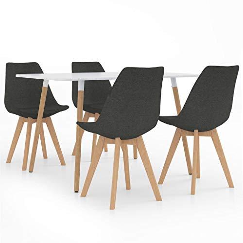vidaXL Juego de Comedor 5 Piezas Muebles Mobiliario Exterior Hogar Cocina Terraza Silla Mesa Asiento Suave Decoración Moderno con Respaldo Gris Oscuro