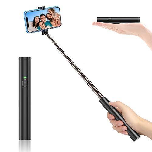Bovon Selfie Stick Bluetooth, Aluminium All-in-one Leicht Tragbare Selfiestange, Erweiterbarer Selfiestick Kompatibel mit iPhone 11 Pro Max/XS Max/Xr/X/8 Plus, Galaxy S10 Plus/S10e/Note 9 usw.