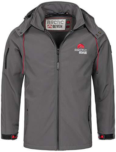 Arctic Seven Herren Designer Softshell Funktions Outdoor Regen Jacke Sport AS087 [AS-087-Dunkelgrau-Gr.5XL]