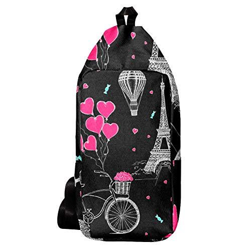 EZIOLY Schulter-Rucksack mit französischen Symbolen und Luftballons, für Reisen, Wandern, Tagesrucksack