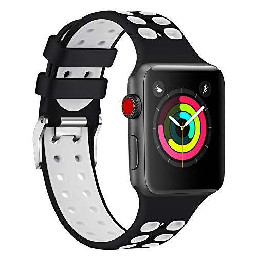 Lintelek Smartwatch Ersatzarmband Kompatibel mit Apple Watch 38mm 42mm 40mm 44mm Ersatz Uhrenarmband Silikon Sportarmband Ersatzbänder für iWatch Serie 1/2/3/4