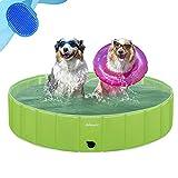 Asmsdd Dog Pool Foldable Kids Paddling Pool Portable Dog Swimming Pool Pet Paddling Pool PVC Non-Slip Large Pet Bathing Bath Tub Playing Pool for Dog Cat Indoor/Outdoor (Bonus Pet Bath Brush) 48'x 12'