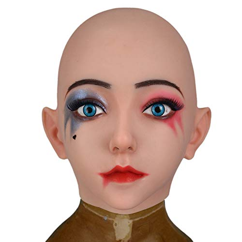 ZRB Femme Crossdress Réaliste Masque De Tête Silicone Souple Transgenres Masquerade Crossdresser Male to Female Coiffures